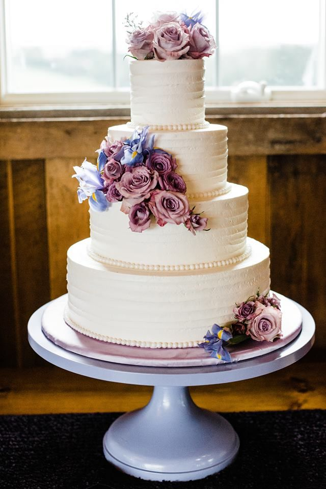 Simple Wedding Cake With Blue And Purple Flowers With Images