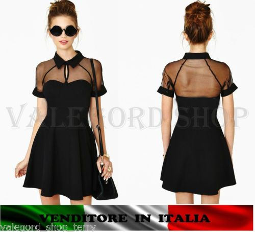 Vestito-rockabilly-cocktail-colletto-nero-scollatura-velata-abito-corto-cerimoni