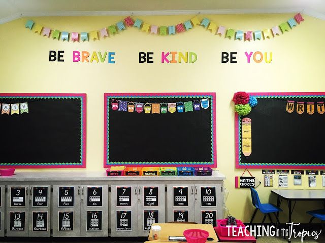 "Love the ""be"" inspirational quotes and pennant banner on the back wall in my classroom!"