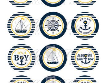Nautical Baby Shower Cupcake ToppersFavor por adlyowlinvitations