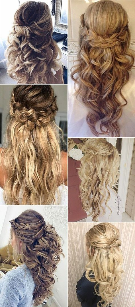 Wedding hairstyles halfway up, with veil, with flowers bridal hair, long