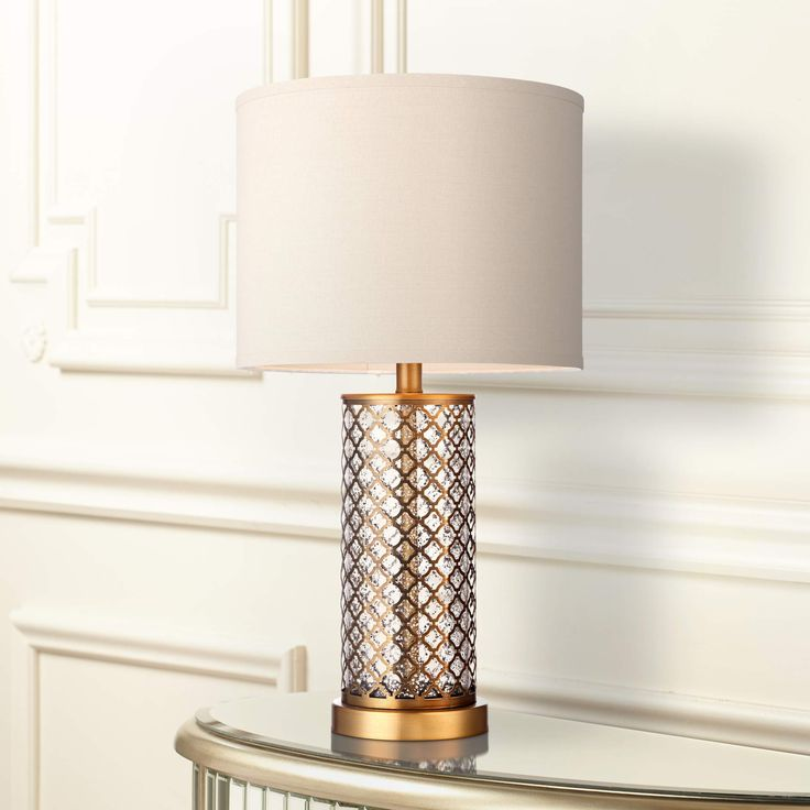 Alcazar Brass and Mercury Glass Table Lamp - #3P911 | Lamps Plus