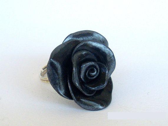 Black Rose Ring Grey Shadows Gothic