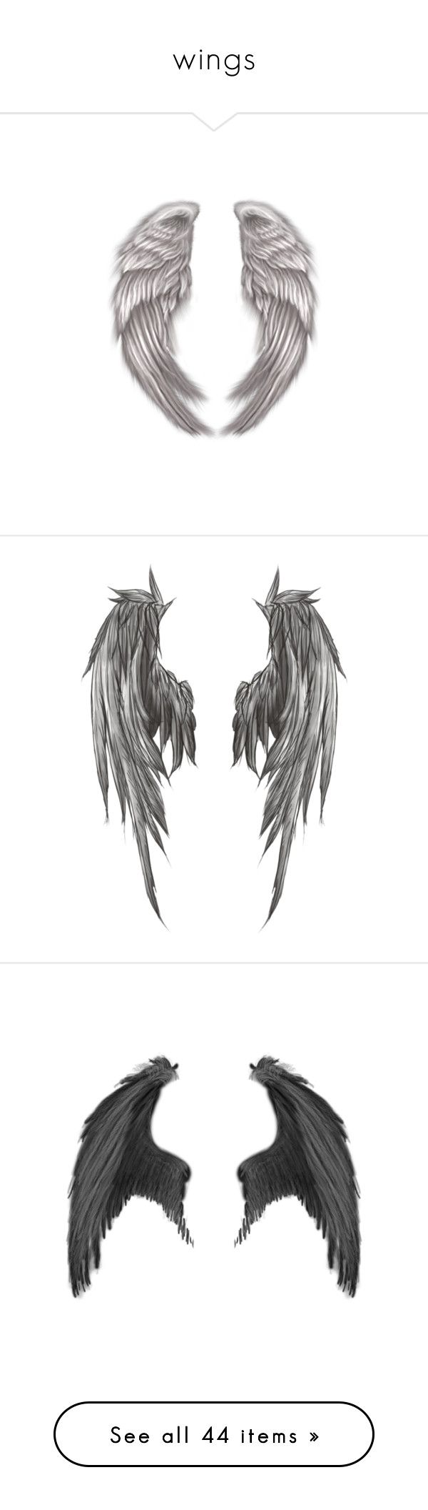"""wings"" by cecilie-smukke ❤ liked on Polyvore featuring wings, backgrounds, fillers, art, other, scenery, dolls, filler, tattoos and drawings"