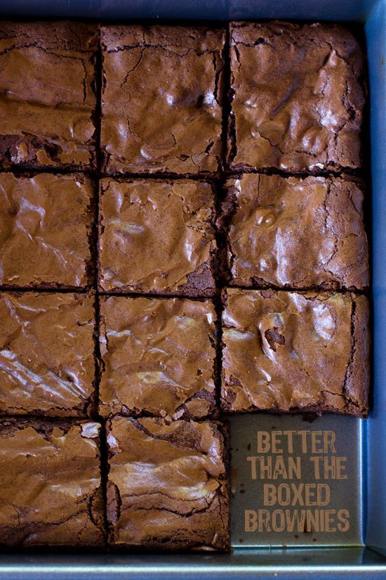 These thick chewy brownies are so much better than the boxed mix. They're a quick and easy alternative that will have you coming back for more.