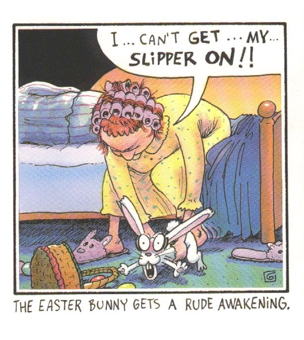 easter haha | It should have been the mother. Men don't wear bunny slippers. I must ...