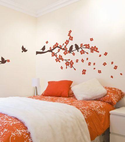 Vinilo rama de flores y p jaros vinilos decorativos - Ramas de arbol para decoracion ...