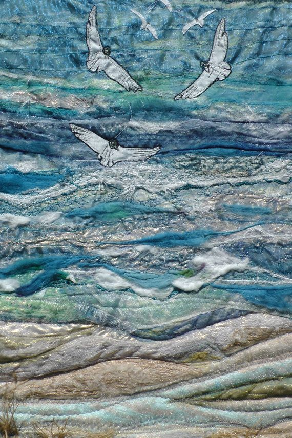 Whitsun at Whitesands. Seascape. seagulls. Wall hanging. Blue.Embroidery. Textile art. Pembrokeshire. Holiday. Gift