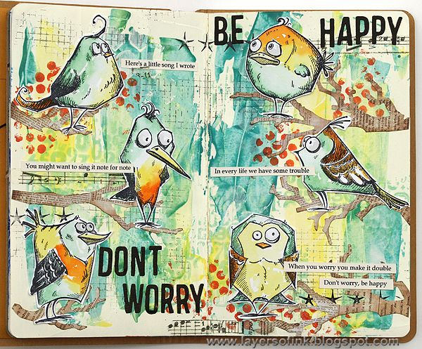 Layers of ink - Happy Birds Journal Tutorial by Anna-Karin, made for Simon Says Stamp Monday Challenge, using products by Tim Holtz and Ranger.
