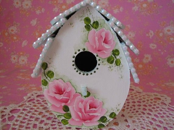 Victorian Birdhouse Hand Painted Cottage Chic Pink by pinkrose1611, $25.00