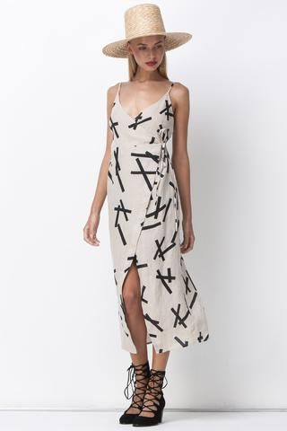 PICK UP STIX WRAP DRESS - NATURAL