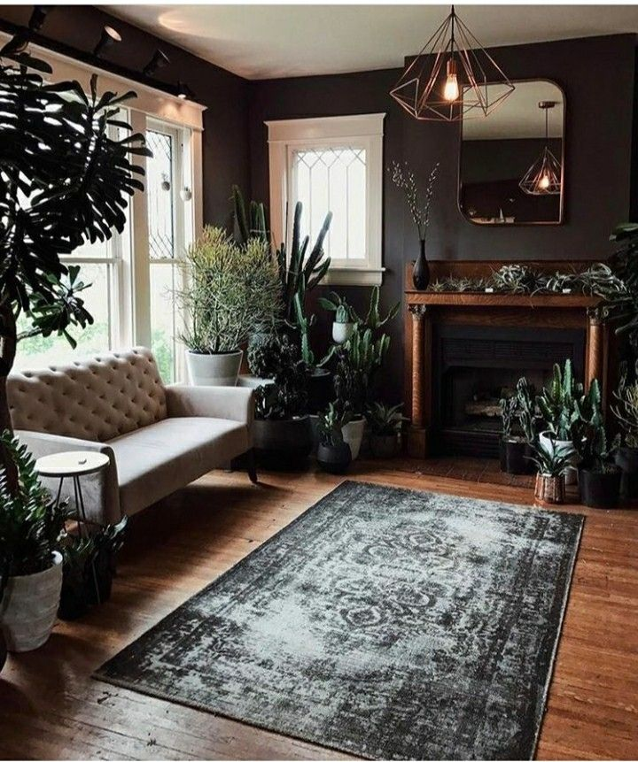 DARK & DELICIOUS INTERIORS - Comfortable, casual yet airy & stylish. Lush feeling despite the minimal subdued color palette of greys whites, sienna hardwood, Abundant green leafy houseplants and a large distressed grey antique looking area rug, soften the look and ties everything together.