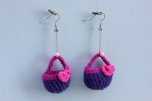 Dangle Earrings – Purple purse shaped earrings. Crochet – a unique product by DanyCream on DaWanda