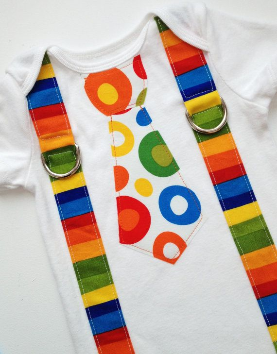 NEW Bright Circus Birthday Tie and Suspenders Applique Onesie or T-Shirt for Baby Boys - 1st Birthday - Dr. Seuss Birthday. $19.99, via Etsy.