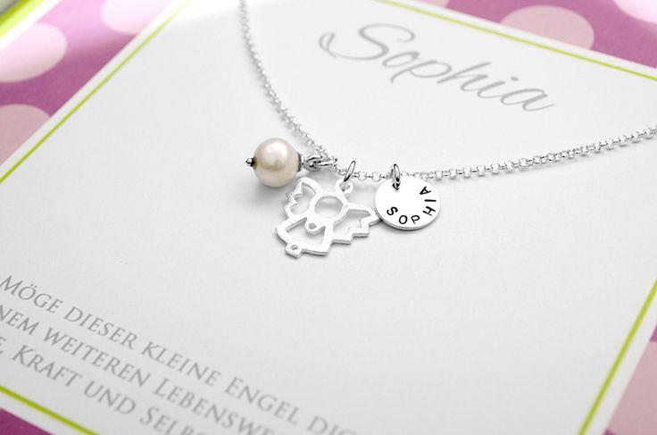 Namensketten - 925 Sterling Silber Kette mit Engel ♥ Gravur - ein Designerstück von Bloomgart bei DaWanda
