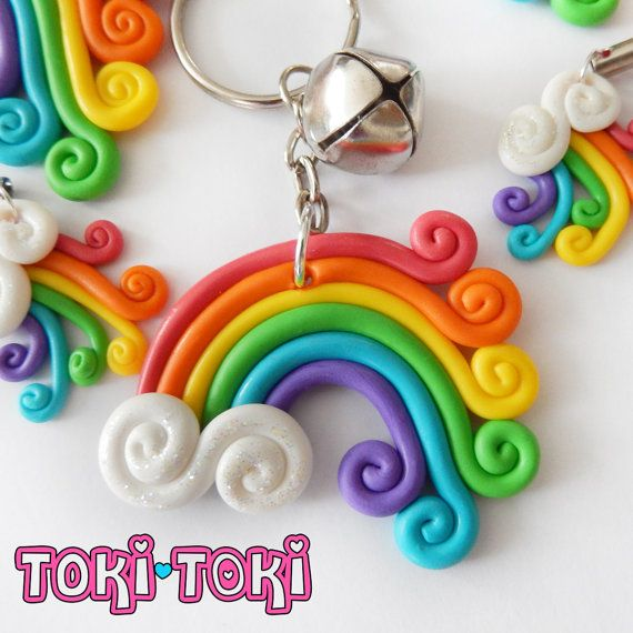 Rainbow Keychain Polymerclay Handmade Cute Kawaii Rainbow Dash Jingle Bell
