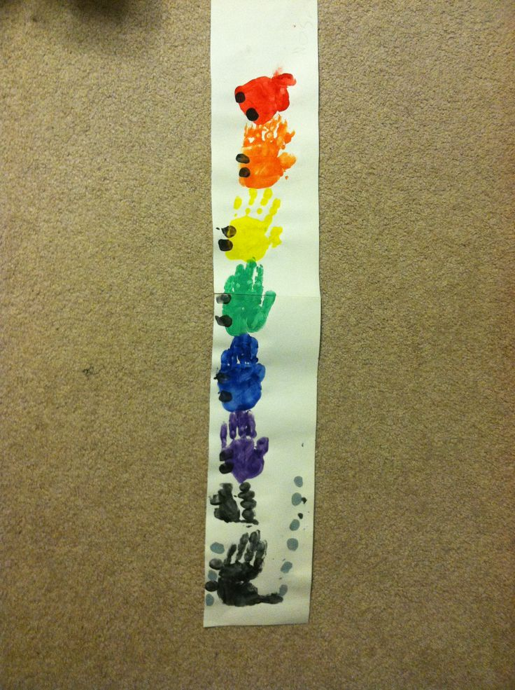 """Handprint Train with thumbprint wheels and steam inspired a favorite children's book """"Freight Train"""" by Donald Crews."""