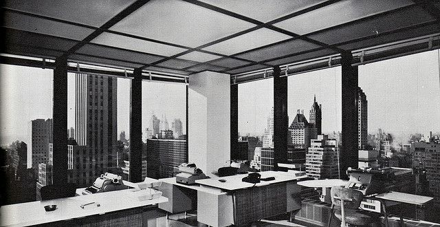 Midtown manhattan looking northwest from a seagram building 25th floor office may 1958 by for New york life building interior