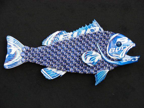 Metal Bottle Cap Fish Wall Art  Small Bud Light by EricsEasel, $150.00
