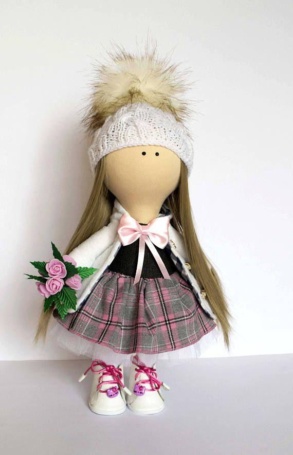 textile doll Fabric art doll with flowers tilda doll rag doll
