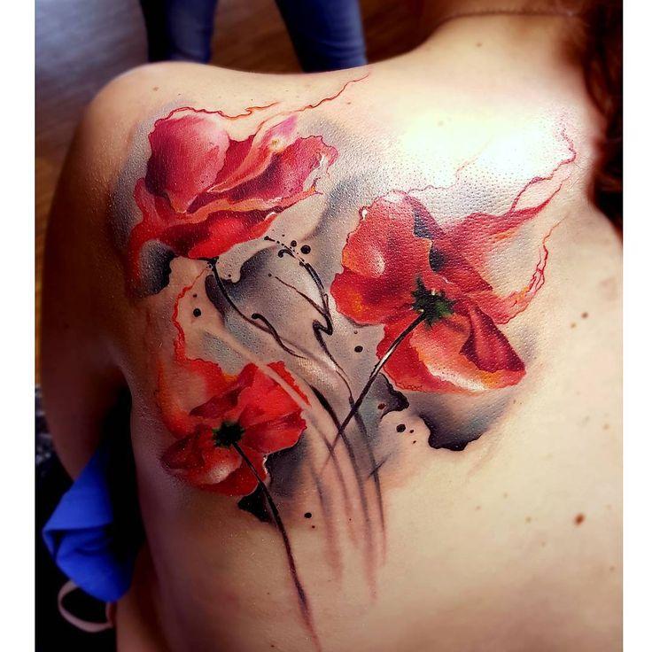poppy on neck tattoo | Fire Poppy Flower Tattoo Watercolor | Best Tattoo Ideas Gallery