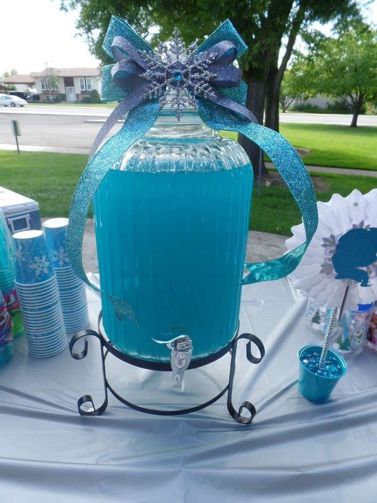 Blue drinks at a Frozen birthday party! See more party planning ideas at CatchMyParty.com!