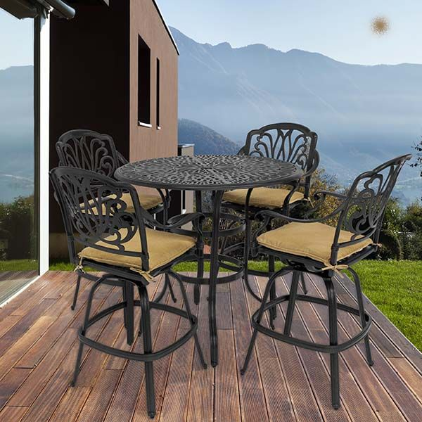 Luxe Bar Height 5 Piece Set By Leisure Select Patio Furniture
