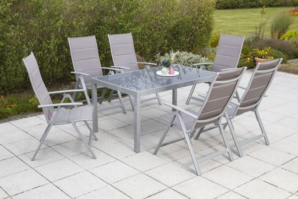 Taviano Set 7tlg Gestell Silber Textil Diamantbraun Tischplatte Graues Glas Gartenmobel Sets Aussenmobel Gartenmobel
