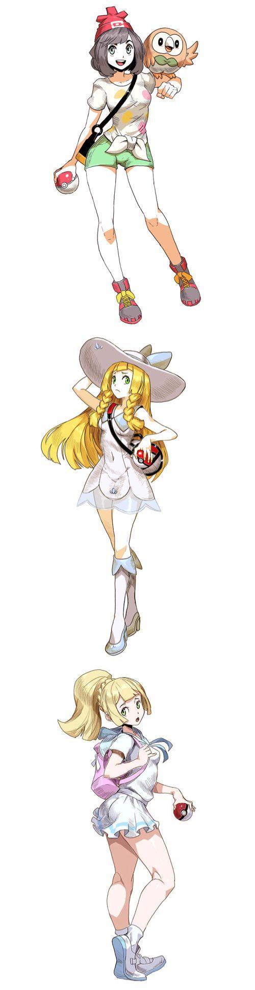 Pokemon trainers from sun and moon... Pokemon girls