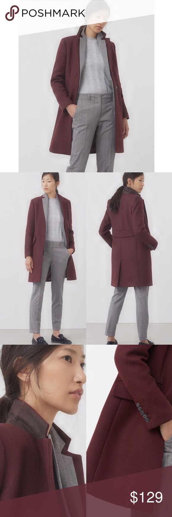 NWT: Mango Maroon Wool Straight-Cut Coat Up your winter game with this chic wool coat from Mango! The quality of the material gives you plenty of warmth, while the straight-cut gives you the most flattering silhouette! This color is also very unique- a muted maroon color that stands out from the crowd. Also love the stiffness and two-toned color (brown under) of the collar so you can wear it popped up for that chic sporty look. Purchased full price for $199. Still in stores. 80% wool 20%…