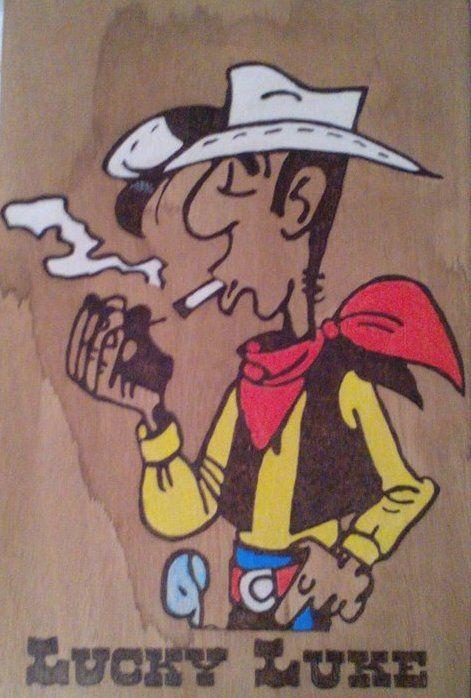 Πυρογραφία σε ξύλο Lucky Luke