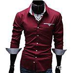 Camisa Social Casual Simples Sólido Algodão Colarinho de Camisa Manga Curta de 2017 por R$26.41