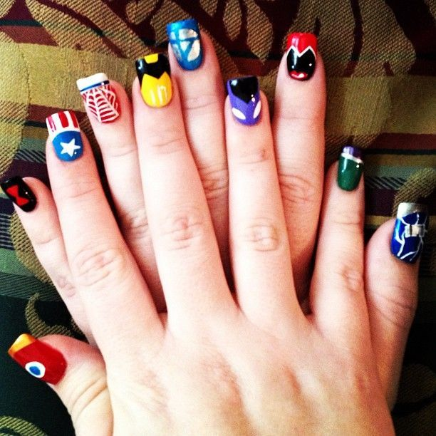Avengers Nail Art!  Iron Man, black widow, Captian america, spiderman, wolverine. fantastic four, hawkeye, scarlet witch, hulk, thor.  Marvel - ous! - Visit now to grab yourself a super hero shirt today at 40% off!
