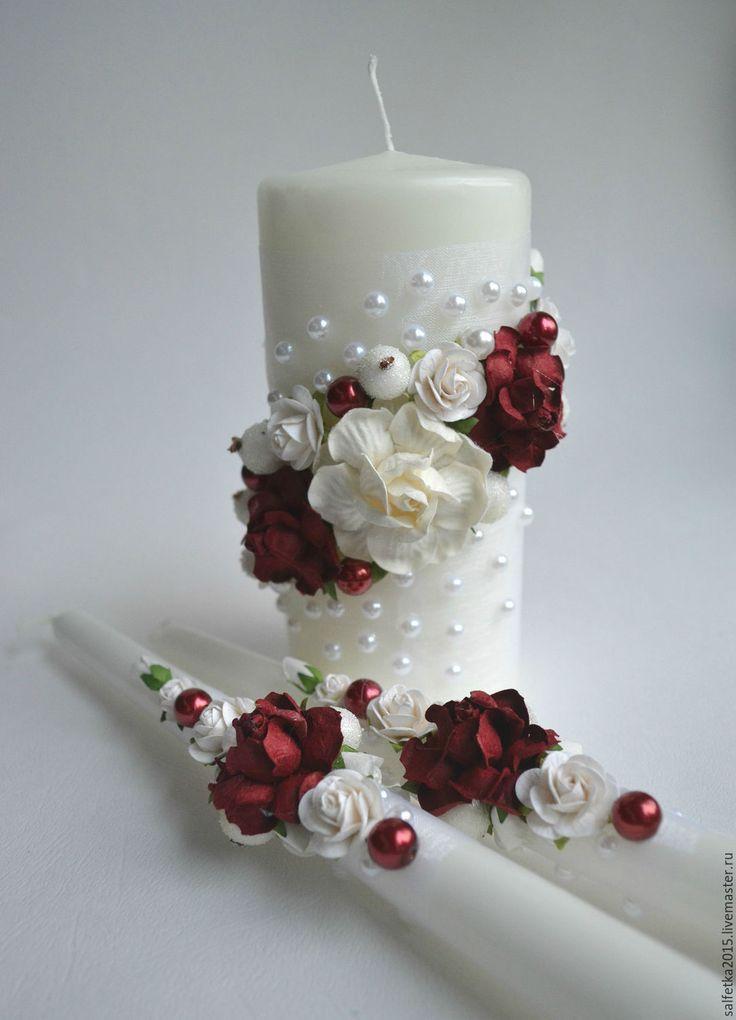 """Купить Свечи свадебные семейный очаг """"марсала"""" - бордовый, марсала, свадебные аксессуары, свадебные свечи"""