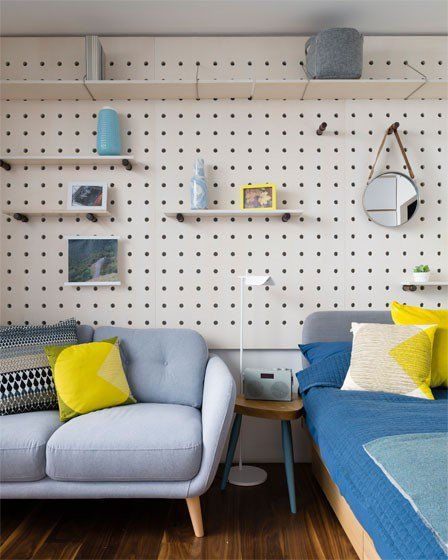 Micro Living The Manser Practice #resi #london #flat #apartment #interiors #design #furnishings #sofa #storage #shelving #bed #retro #fabrics #flooring