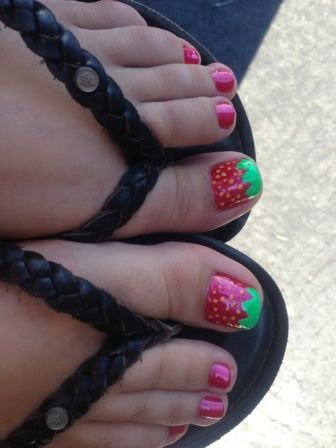 72 best rockin strawberry nails images on pinterest nail 9 cute strawberry nail art designs prinsesfo Gallery