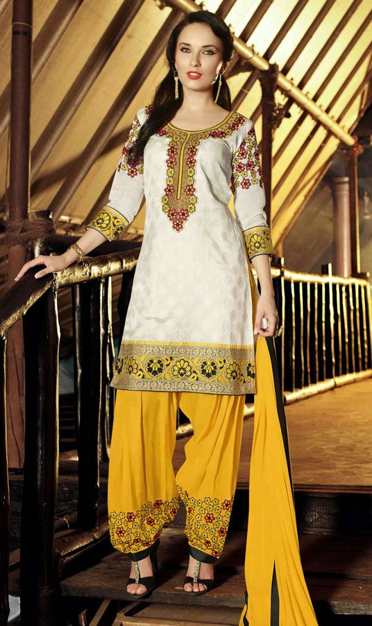 USD 31.53 Off White Cotton Jacquard Punjabi Suit 47505