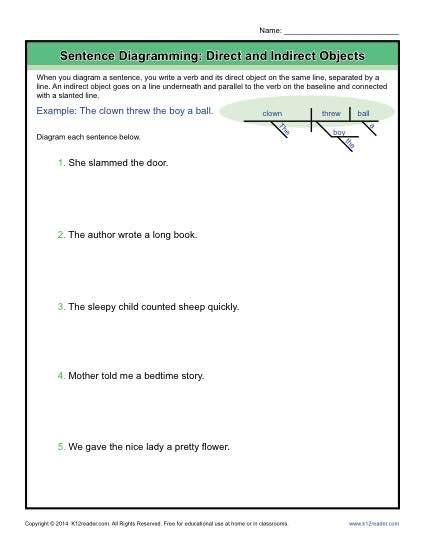 diagramming sentences worksheets direct and indirect objects sentences worksheets and. Black Bedroom Furniture Sets. Home Design Ideas