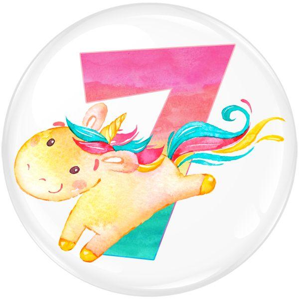 Unicorn 7 Age Birthday Party Badge #454
