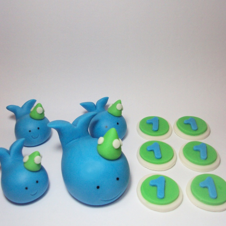 Party Hat Whales Birthday Set - Cupcake and Cake Toppers. $28.00, via Etsy.