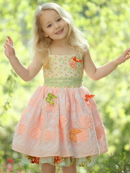 Bunnies Picnic - Moxie  Mabel Paloma Dress in Country Fair with Butterflies - Girls Boutique Clothes
