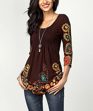 Another great find on #zulily! Brown Garden Floral Pin-Tuck Empire-Waist Tunic #zulilyfinds
