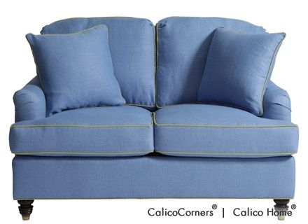 Classic Home Loveseat in Slubby Linen/Ceramic with Throw Pillows. Image: Calico Corners. #designer_fabrics #decorative_fabrics #custom_furniture #blue