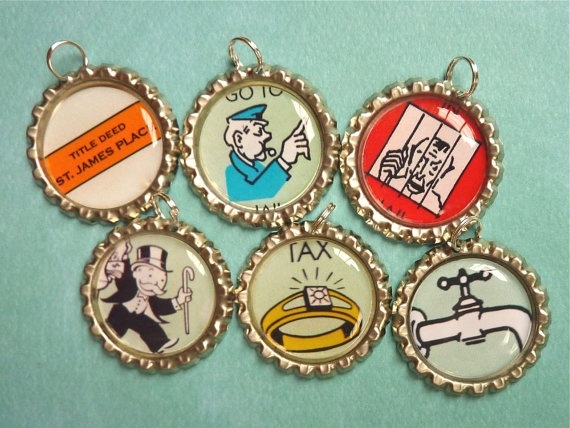 DIY monopoly charms for jewelry or wine glasses