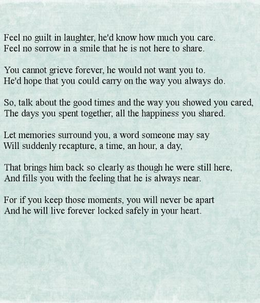 """Feel No Guilt In Laughter"" #Funeral #Poem #GriefandLoss #Poetry - Great Lakes Caskets LLC - Google+"