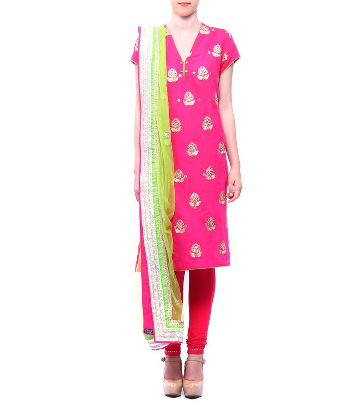 Fuschia & Lime Green Chanderi & Raw Khadi Silk Kurta With Churidars & Dupatta