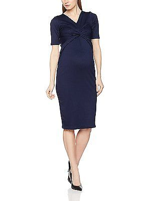12, Blue (Navy), Dorothy Perkins Maternity Women's Twist Front Bodycon Dress NEW