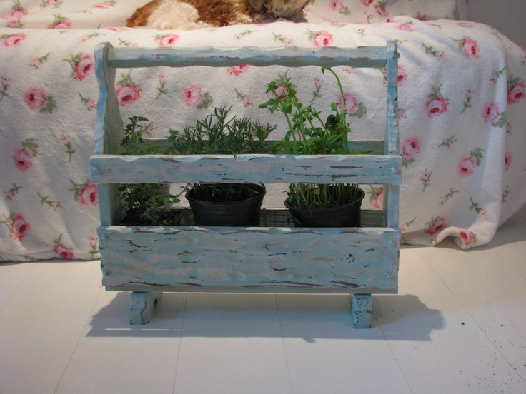 Upcycled Rustic Shabby Chic magazine rack / plant holder Annie Sloan Provence