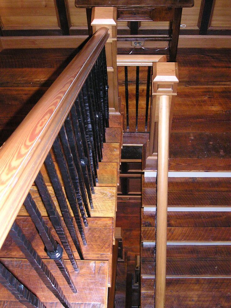 heart pine original patina staircase was used for the step treads wall panel trim flooring milled surface on handrails panels with iron balusters