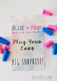 Gender Reveal Fun Party - Tannerite + Chalk for Gender Surprise. Ear plug favor for guests - Blue or Pink what do you think idea pregnancy